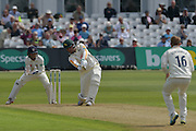 Brendan Taylor launches Scott Borthwick for four during the Specsavers County Champ Div 1 match between Nottinghamshire County Cricket Club and Durham County Cricket Club at Trent Bridge, West Bridgford, United Kingdom on 28 May 2016. Photo by Simon Trafford.