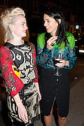 LOUISE GRAY; EMILY SHEFFIELD, Leaving dinner for Kate Phelan given by Alex Shulman and Mary Homer. Riding House Cafe. Great Titchfield st. London. 20 September 2011. <br /> <br />  , -DO NOT ARCHIVE-© Copyright Photograph by Dafydd Jones. 248 Clapham Rd. London SW9 0PZ. Tel 0207 820 0771. www.dafjones.com.