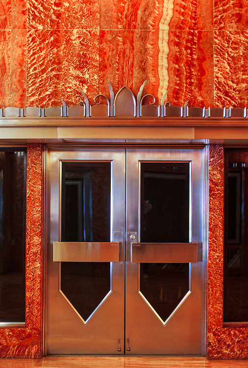 Art Deco steel doors and red Moroccan marble in the Chrysler Building's lobby