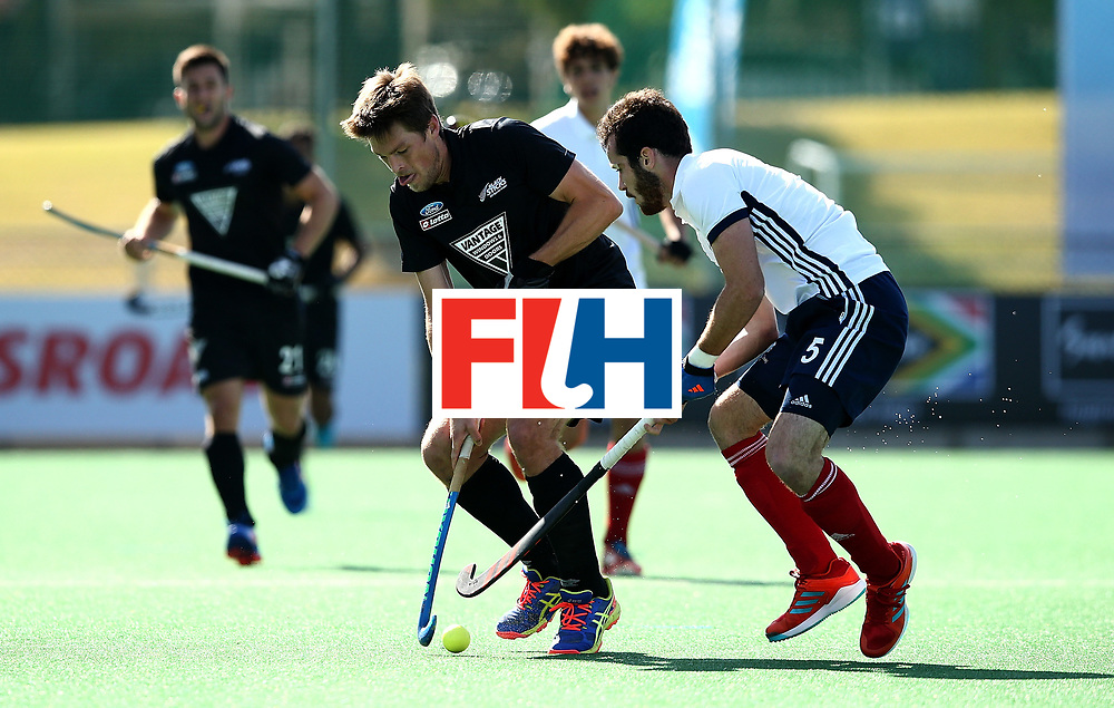 JOHANNESBURG, SOUTH AFRICA - JULY 09:  Marcus Child of New Zealand battles with Jean-Laurent Kieffer of France during day 1 of the FIH Hockey World League Semi Finals Pool A match between New Zealand and France at Wits University on July 9, 2017 in Johannesburg, South Africa.  (Photo by Jan Kruger/Getty Images for FIH)