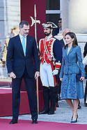 King Felipe VI of Spain, Queen Letizia of Spain attended the Official Reception and Honors of Ordinance to President of Portugal during his 3 days State Visit at Palacio Real on April 16, 2018 in Madrid, Spain