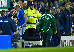 LIVERPOOL, ENGLAND - Thursday, December 17, 2009: Everton's Jack Rodwell is brought off injured after 10 minutes of the UEFA Europa League Group I match against FC BATE Borisov at Goodison Park. (Pic by David Rawcliffe/Propaganda)
