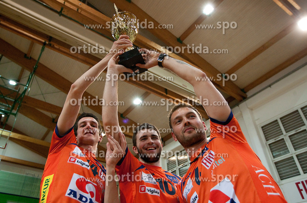 Milan Rasic, Uros Kovacevic and Vlado Petkovic of ACH after the volleyball match between ACH Volley Bled and UKO Kropa at final of Slovenian National Championships 2011, on April 27, 2011 in Arena SGTS Radovljica, Slovenia. ACH Volley defeated Kropa 3-0 and became Slovenian National Champion 2011. (Photo By Vid Ponikvar / Sportida.com)
