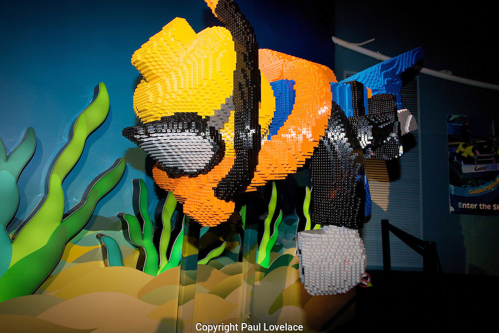 "Sydney Aquarium and Sydney Wildlife World have opened a new million-dollar LEGO exhibit, housing Australia's largest collection of super-sized LEGO models. ..The LEGO models ON THE LOOSE exhibit has been almost two years in the making and features 25 giant LEGO models made up of over 1.5 millions LEGO bricks! The world-class exhibit has been created by LEGO Master Builders in the US and Prague and has taken over 10,000 man-hours to complete...The mysteries of the deep have surfaced at Sydney Aquarium including a massive LEGO Moby Dick made from more than 365,000 DUPLO® bricks and Neptune made up of 304,500 LEGO bricks alongside Mermaid, Scuba Diver and a totally jaw-dropping 6.4 metre Great White Shark...Above water, it's Aussie animals, Aussie legends, outback explorers and more at Sydney Wildlife World. Behold the Giant Drover on Horseback - four metres tall and built from over 90,000 bricks, Burke and Wills with camel, a Water Buffalo standing over 2.4 metres tall and huge Aussie icons like our very own Boxing Kangaroo. ..Kids can also express their creativity at the free LEGO play room in Sydney Wildlife World and will receive a world exclusive LEGO Minifigure (while stocks last)...Until today visitors were also able to participate in the Mega Mural - the biggest interactive LEGO event the world has seen to help raise money for Autism Spectrum Australia (ASPECT)...Sydney Attractions Group, Director Sales and Marketing, Michael McKeon said, ""We're extremely excited to be opening ON THE LOOSE. We've combined one the world's leading toy brands with Australia's favourite family attractions to create an exhibit spectacular in both scale and creativity. The models are magnificent!""..Scuba Diver made up of 20,000 bricks"