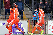 Shrewsbury Town midfielder Jon Nolan (20) scores a goal 1-1 and celebrates during the EFL Sky Bet League 1 match between Scunthorpe United and Shrewsbury Town at Glanford Park, Scunthorpe, England on 17 March 2018. Picture by Mick Atkins.