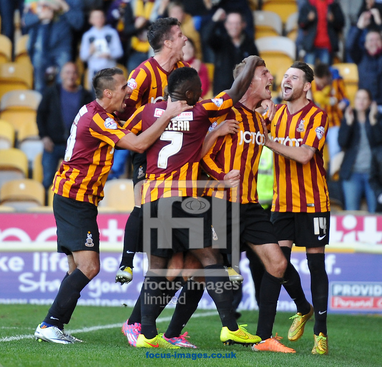 Gary Liddle (C) of Bradford City celebrates making it 2-0 during the Sky Bet League 1 match at the Coral Windows Stadium, Bradford<br /> Picture by Richard Land/Focus Images Ltd +44 7713 507003<br /> 04/10/2014