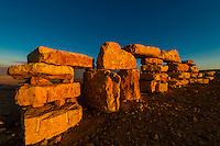 Rock sculptures at a sculpture park in Mitzpe Ramon, Negev Desert, Israel.