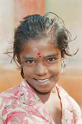Portrait of young Indian girl smiling,