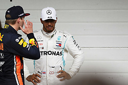 November 17, 2019, Sao Paulo, SP, Brazil: The British racing driver LEWIS HAMILTON(r) was disqualified during Formula 1 Grand Prix at Interlagos racetrack. In the photo, he speaks with MAX VERSTAPPEN of the Red Bull Racing the race's winner. (Credit Image: © Marcelo Chello/ZUMA Wire)