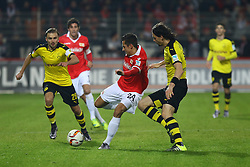 24.01.2016, Stadion An der Alten Foersterei, Berlin, GER, Testspiel, 1. FC Union Berlin vs. Borussia Dortmund, im Bild Marcel Schmelzer (#29, Borussia Dortmund), Steven Skrzybski (#24, 1. FC Union Berlin), Neven Subotic (#4, Borussia Dortmund) // during a preperation Football Match between 1. FC Union Berlin and Borussia Dortmund at the Stadion An der Alten Foersterei in Berlin, Germany on 2016/01/24. EXPA Pictures © 2016, PhotoCredit: EXPA/ Eibner-Pressefoto/ Hundt<br /> <br /> *****ATTENTION - OUT of GER*****