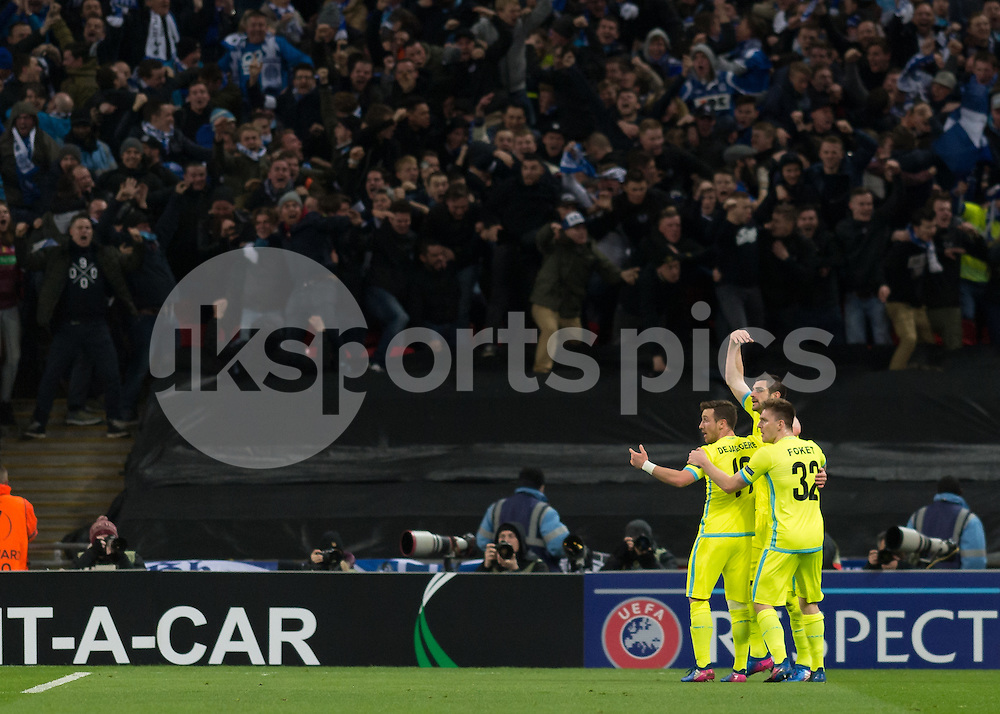 KAA Gent player celebrates after Spurs score an own goal during the UEFA Europa League  Round of 32 Game 2 match between Tottenham Hotspur and Gent at Wembley Stadium, London, England on 23 February 2017. Photo by Vince  Mignott.