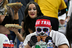 Competitive eater Monty Wiradilaga, aka Moe train, of Philadelphia, PA, competes in Wing Bowl 26, at the Wells Fargo Center, in Philadelphia, PA, on February 2, 2018. The annual chicken wing eating contest is set two days before Super Bowl 52, where the Philadelphia Eagles will take on the New England Patriots.
