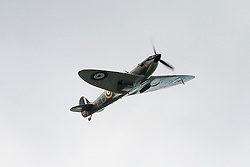 A Hurricane and A Spitfire from the Battle of Britain Memorial Flight flypast late on Saturday afternoon at the Hull Veterans Weekend<br />