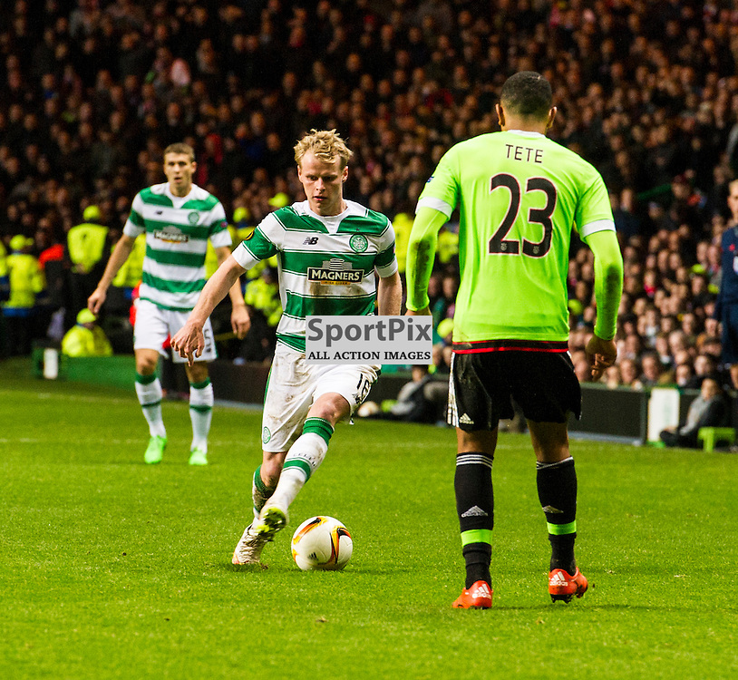 Gary Mackay-Stevens hopes some fancy footwork will fool Kenny Tete as Celtic host Ajax at Parkhead in the Europa League.<br /> &copy; Ger Harley/ SportPix.org.uk 26 November 2015