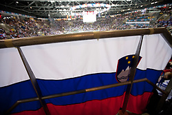 Flag of Slovenia during ice-hockey match between Russia and Slovenia of Group A of IIHF 2011 World Championship Slovakia, on May 1, 2011 in Orange Arena, Bratislava, Slovakia. Russia defeated Slovenia 6-4. (Photo By Vid Ponikvar / Sportida.com)