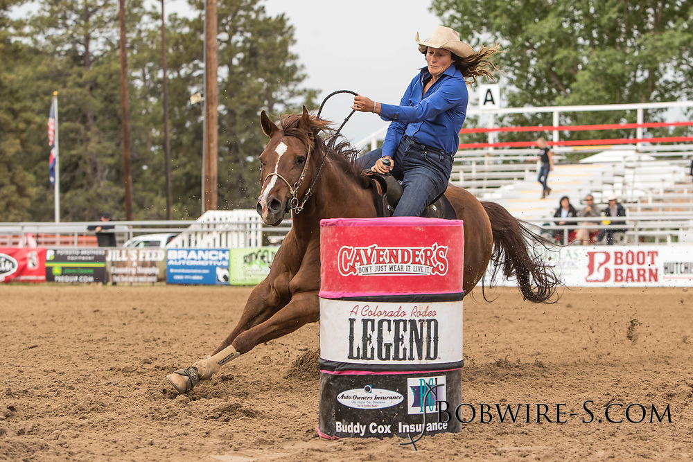 Erin Williams makes her barrel racing run during slack at the Elizabeth Stampede on Sunday, June 3, 2018.