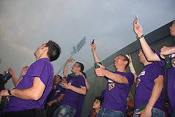 Maribor celebrates after last football match of PrvaLiga Telekom Slovenije between NK Maribor and NK Interblock, when Maribor became a Slovenian National Champion, on May 23, 2009, in Ljudski vrt, Maribor. (Photo by Marjan Kelner/Sportida)