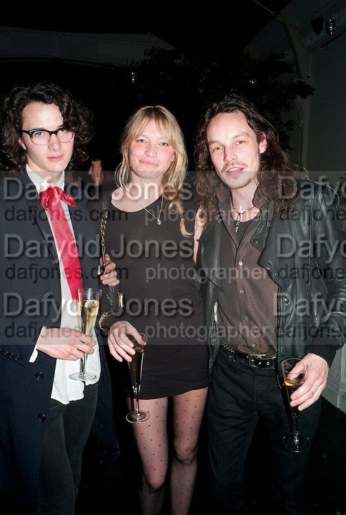 CHARLIE GILMOUR; SARA GILMOUR; GUS ROBERTSON, Party for Perfect Lives by Polly Sampson. The 20th Century Theatre. Westbourne Gro. London W11. 2 November 2010. -DO NOT ARCHIVE-© Copyright Photograph by Dafydd Jones. 248 Clapham Rd. London SW9 0PZ. Tel 0207 820 0771. www.dafjones.com.
