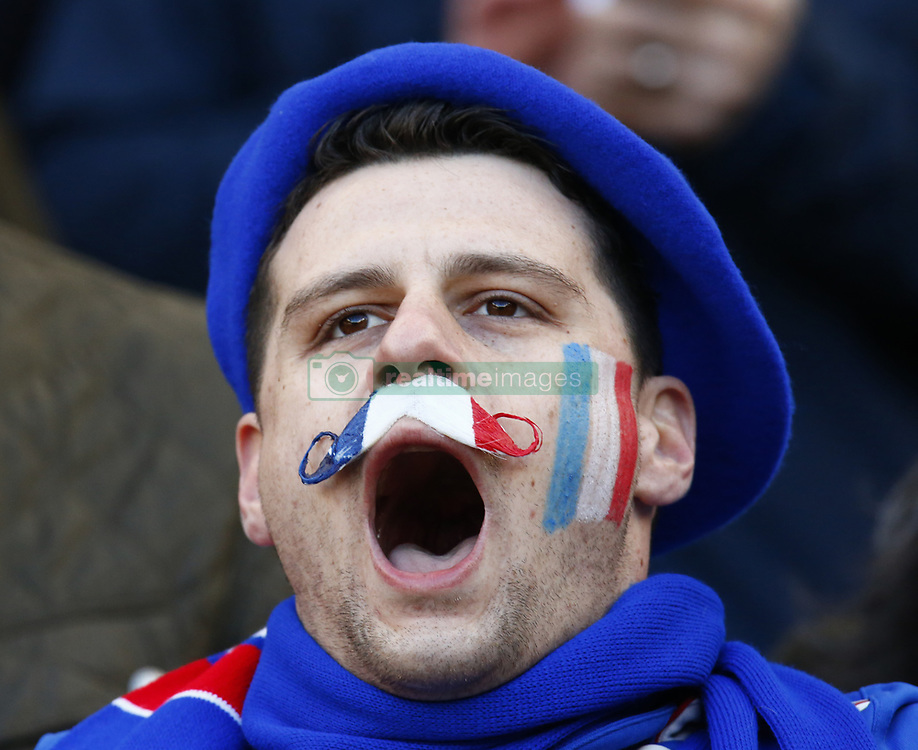 February 10, 2019 - London, England, United Kingdom - France support singing the France Anthem..during the Guiness 6 Nations Rugby match between England and France at Twickenham  Stadium on February 10th,  in Twickenham, London, England. (Credit Image: © Action Foto Sport/NurPhoto via ZUMA Press)