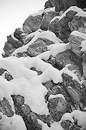 detailed snow scene in black and white