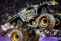 December 16, 2017 - Sao Paulo, Sao Paulo, Brazil - MAX-D in action during a round of racing. Monster Jam was held at Corinthians Stadium, in Sao Paulo, Brazil. (Credit Image: © Paulo Lopes via ZUMA Wire)