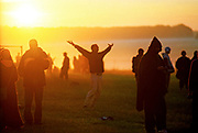 A sun worshipper having a moment, Summer Solstice, June UK 2005