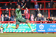 Ade Azeez forward for AFC Wimbledon (14) chases the lose ball during the Sky Bet League 2 match between Stevenage and AFC Wimbledon at the Lamex Stadium, Stevenage, England on 30 April 2016. Photo by Stuart Butcher.