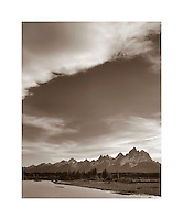 Evening light over the Grand Tetons along the Snake River, Grand Teton National Park, Wyoming USA