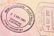 Passport page with the immigration control of Australia stamps.