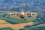 Royal Jordanian Air Force Lockheed C-130 Hercules in flight. Photographed at Royal International Air Tattoo (RIAT)
