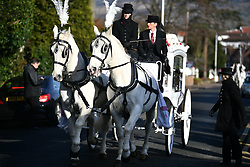 """© Licensed to London News Pictures. 13/02/2020. Sevenoaks, UK.  The coffins make their way through the town as mourners gather at St John the Baptist church in Sevenoaks, Kent for he funeral of traveller brothers Billy and Joe Smith. The twin brothers, who were made famous by the television programme """"My Big Fat Gypsy Wedding"""", were found hanged in woodland three days after Christmas. Photo credit: Ben Cawthra/LNP"""