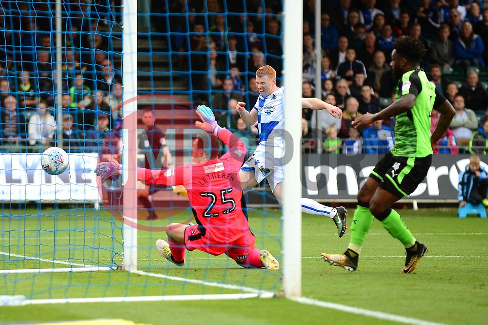 Rory Gaffney of Bristol Rovers takes a shot at goal - Mandatory by-line: Dougie Allward/JMP - 30/09/2017 - FOOTBALL - Memorial Stadium - Bristol, England - Bristol Rovers v Plymouth Argyle - Sky Bet League One