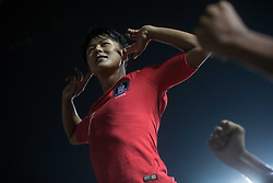 BOGOR, Sept. 1, 2018  Lee Seungwoo of South Korea celebrates during the men's football final between South Korea and Japan at the 18th Asian Games in Bogor, Indonesia on Sept. 1, 2018. (Credit Image: © Wu Zhuang/Xinhua via ZUMA Wire)