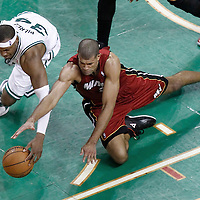 07 June 2012: Boston Celtics small forward Paul Pierce (34) vies for the loose ball with Miami Heat small forward Shane Battier (31) during the Miami Heat 98-79 victory over the Boston Celtics, in Game 6 of the Eastern Conference Finals playoff series, at the TD Banknorth Garden, Boston, Massachusetts, USA.