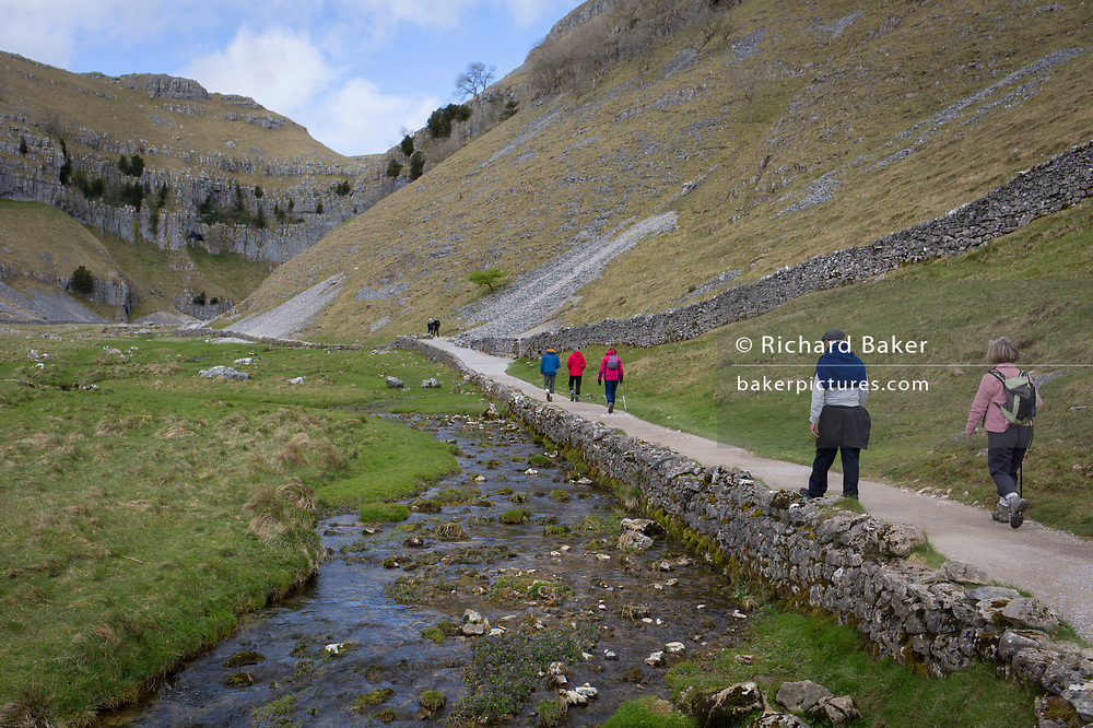 Walkers make their way towards Gordale Scar, on 12th April 2017, in Malham, in the Yorkshire Dales, England. Gordale Scar is a limestone ravine 1 mile (1.6 km) northeast of Malham, North Yorkshire, England.[1] It contains two waterfalls and has overhanging limestone cliffs over 100 metres high. The gorge could have been formed by water from melting glaciers or a cavern collapse. The stream flowing through the scar is Gordale Beck, which on leaving the gorge flows over Janet's Foss before joining Malham Beck two miles downstream to form the River Aire. A right of way leads up the gorge, but requires some mild scrambling over tufa at the lower waterfall.