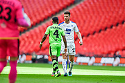 Forest Green Rovers Drissa Traoré(4) and Tranmere Rovers Cole Stockton(23) clash during the Vanarama National League Play Off Final match between Tranmere Rovers and Forest Green Rovers at Wembley Stadium, London, England on 14 May 2017. Photo by Adam Rivers.