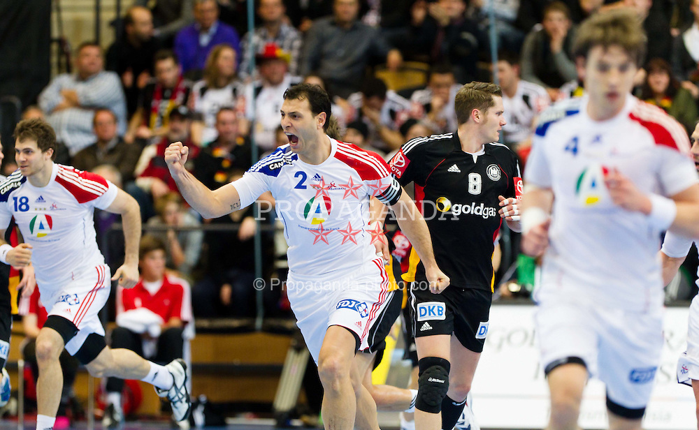 19.01.2011, Kristianstad Arena, SWE, IHF Handball Weltmeisterschaft 2011, Herren, Deutschland (GER) vs Frankreich (FRA) im Bild, // Frankrike France 2 Jerome Fernandez // during the IHF 2011 World Men's Handball Championship match  Germany (GER) vs France (FRA) at Kristianstad Arena, Sweden on 19/1/2011.  EXPA Pictures © 2011, PhotoCredit: EXPA/ Skycam/ Johansson +++++ ATTENTION - OUT OF SWEDEN/SWE +++++