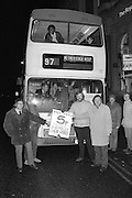 Following the Tory Governments decision to abolish Metropolitan County Councils whose responsibilities included public Transport. bus fares in South Yorkshire rose by over 300%. Picture shows busworkers and Labour City & County councillors with the last bus offering cheap fares as it starts its journey in Sheffield. L to R Steve Womack. bus driver; Terry Butler. Sth Yorks County Councillor; Steve Chew. SYCC; Peter Wood. bus driver & Sheffield Councillor 31.3.86