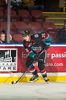 KELOWNA, CANADA - NOVEMBER 23: Leif Mattson #28 of the Kelowna Rockets skates with the puck against the Victoria Royals  on November 23, 2018 at Prospera Place in Kelowna, British Columbia, Canada.  (Photo by Marissa Baecker/Shoot the Breeze)