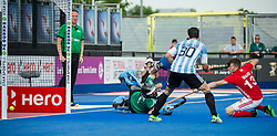 Sam Ward scores England's 2nd goal. England v Argentina - Hockey World League Semi Final, Lee Valley Hockey and Tennis Centre, London, United Kingdom on 18 June 2017. Photo: Simon Parker