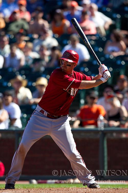 May 30, 2010; San Francisco, CA, USA;  Arizona Diamondbacks first baseman Adam LaRoche (25) at bat against the San Francisco Giants during the tenth inning at AT&T Park.  San Francisco defeated Arizona 6-5 in 10 innings.