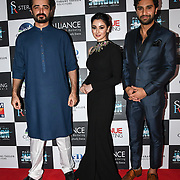 "Hamza Ali,Hania Amir and Ahad Raza Mir star of the movie attend Photocall in London Premiere of ""Parwaaz Hai Junoon"" (Soaring Passion) as featured on SKY, ITV at The May Fair Hotel, Stratton Street, London, UK. 22 August 2018."