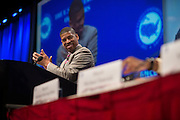 Sacramento Mayor and President of the United States Conference of Mayors, Kevin Johnson, speaks during the Opening Plenary Luncheon to begin 82nd annual meeting at the Omni Hotel in Dallas, Texas on June 20, 2014.  (Cooper Neill for The New York Times)