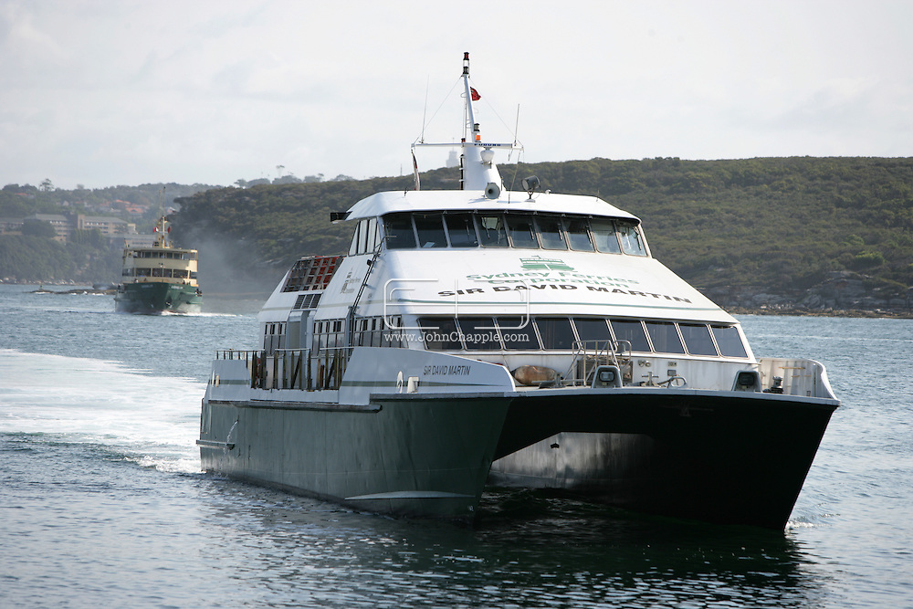 5th February 2007. Sydney, NSW. The Sydney Ferries, Jetcat arrives at Manly beach, Sydney. PHOTO © JOHN CHAPPLE / REBEL IMAGES. .tel 310 570 9100.john@chapple.biz.www.chapple.biz.
