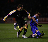 Photo: Steve Bond.<br />Leicester City v Cardiff City. Coca Cola Championship. 26/11/2007. Gavin Rae (L) avoids a challange
