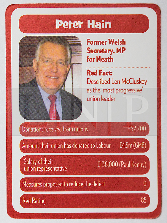 """© Licensed to London News Pictures . 29/09/2013 . Manchester , UK . Peter Hain . """" Top Trumped by the Unions """" cards handed out at the Conservative Party Conference . The Conservative Party Conference at Manchester Central . Photo credit : Joel Goodman/LNP **FULL PACK OF 40 TRUMP CARDS AVAILABLE ON REQUEST**"""