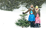Family With Two Children, Christmas Tree, Pride, Achievement,