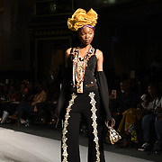 Designer Kiannara showcases its latest collection at the Africa Fashion Week London (AFWL) at Freemasons' Hall on 11 August 2018, London, UK.