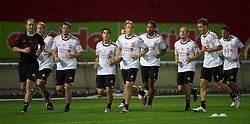 TRABZON, TURKEY - Wednesday, August 25, 2010: Liverpool's players during training at the Huseyin Avni Aker Stadium ahead of the UEFA Europa League Play-Off 2nd Leg match against Trabzonspor A.S. L-R: Christian Poulsen, Jamie Carragher, Daniel Pacheco, Lucas Leiva, Glen Johnson, Jay Spearing, Fabio Aurelio. (Pic by: David Rawcliffe/Propaganda)