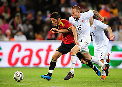 Davis Villa and Jay Demerit  during the Semi Final soccer match of the 2009 Confederations Cup between Spain and the USA played at the Freestate Stadium,Bloemfontein,South Africa on 24 June 2009.  Photo: Gerhard Steenkamp/Superimage Media.